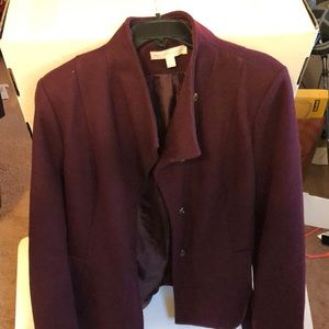 Burgundy peacoat with snaps and belt